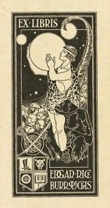 This Burroughs' bookplate shows Tarzan holding Mars, surrounded by other Burroughs characters and symbols relating to his to the author's own life.
