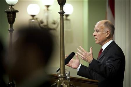 California Governor Jerry Brown delivers the State of the State address in Sacramento