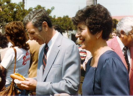 "Then California Attorney George ""Duke"" Deukmejian and Gloria at the Deukmejian for Governor headquarters opening in Manahattan Beach, 1982."
