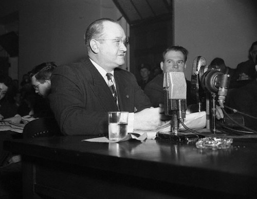 Tenney testifying at a House Un-American Activities Committee hearing March 27, 1947 about Hollywood being